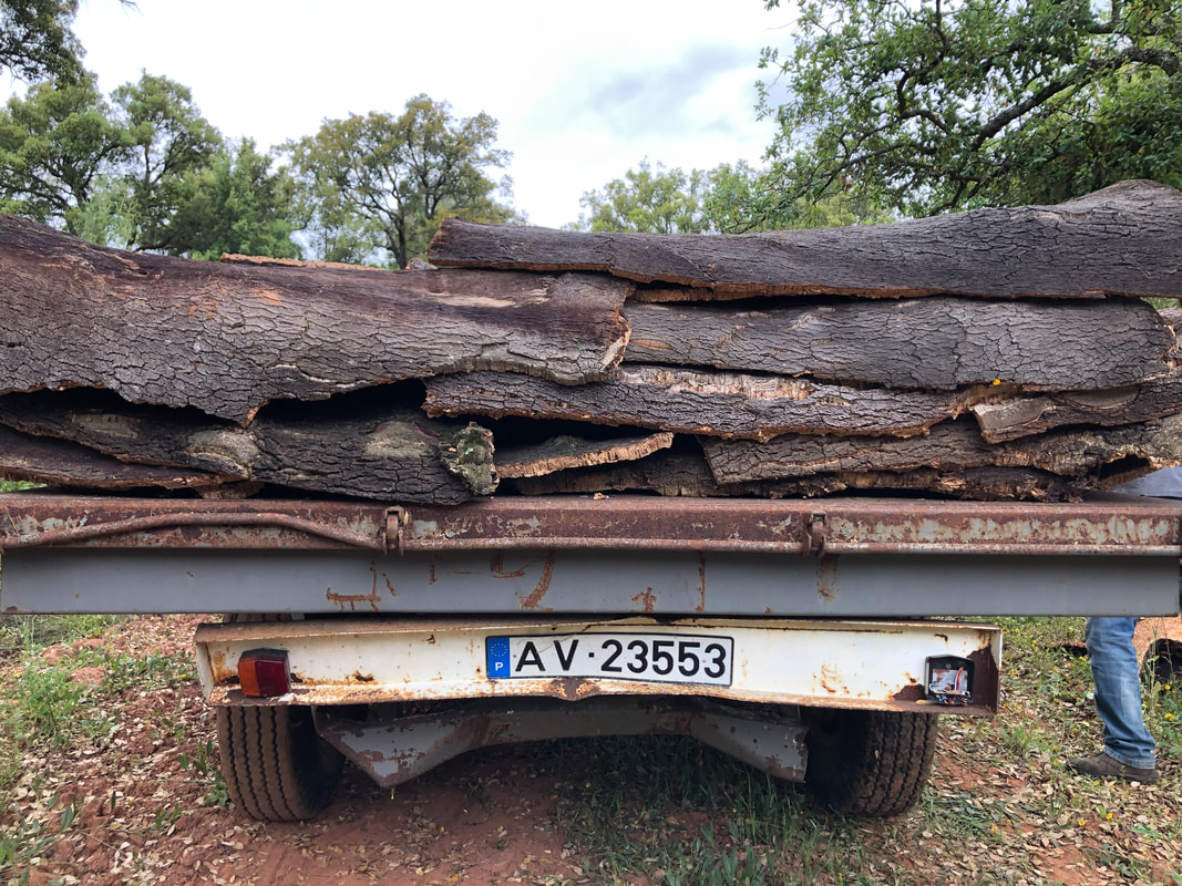 Tractor trailer loaded with cork bark in Portugal